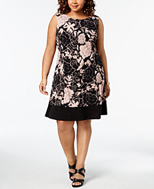 Connected Plus Size Floral Print A-Line Dress