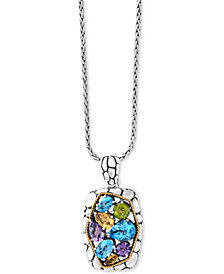 "Balissima by EFFY® Multi-Gemstone 18"" Pendant Necklace (6-3/4 ct. t.w.) in Sterling Silver & 18k Gold"