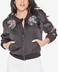 GUESS Pranne Embroidered Satin Bomber Jacket