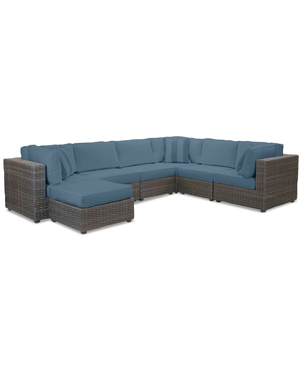 Furniture Viewport Outdoor 7-Pc. Modular Seating Set (3 Corner Units, 3 Armless Units and 1 Ottoman) with Custom Sunbrella® Cushions, Created for Macy's