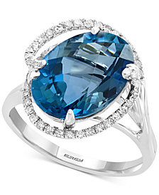 EFFY® Blue Topaz (6-7/8 ct. t.w.) & Diamond (1/4 ct. t.w.) Ring in 14k White Gold