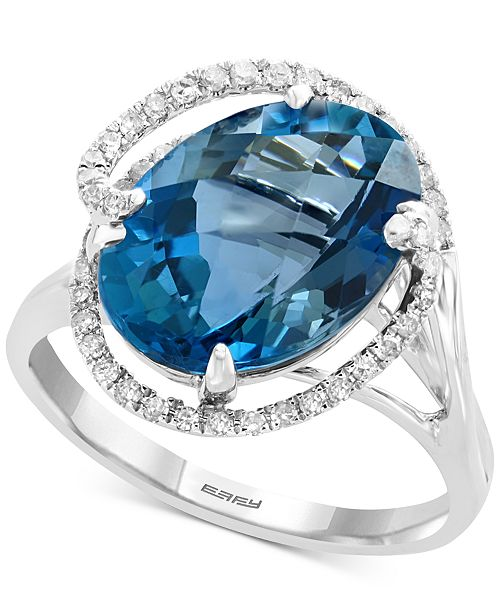 EFFY Collection EFFY® Blue Topaz (6-7/8 ct. t.w.) & Diamond (1/4 ct. t.w.) Ring in 14k White Gold