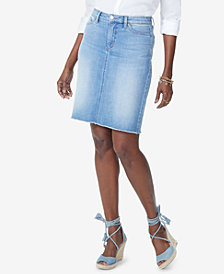 NYDJ Frayed-Hem Denim Skirt