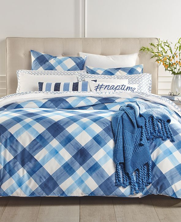 Charter Club  CLOSEOUT! Painted Plaid 3-Pc. Full/Queen Comforter Set, Created for Macy's