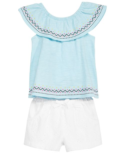 First Impressions Flounce Tunic & Shorts Separates, Little Girls, Created for Macy's