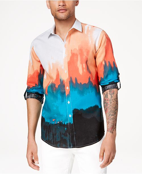 INC International Concepts I.N.C. Men's Tie Dyed Button Down Shirt, Created for Macy's