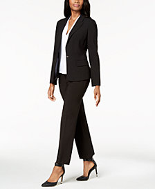Calvin Klein One-Button Stretch Blazer, Pleated Blouse & Modern Fit Trousers