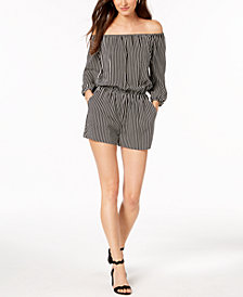 Bar III Striped Off-The-Shoulder Romper, Created for Macy's