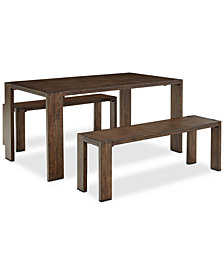 Crosby Dining Furniture, 3-Pc. Set (Table & 2 Benches), Created for Macy's