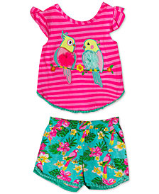 Rare Editions Baby Girls 2-Pc. Parrot-Print Cotton Top & Floral-Print Shorts Set