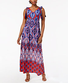 John Paul Richard Petite Printed Tassel-Detail Maxi Dress
