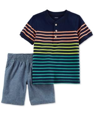 Carters 2Pc Striped Shirt  Shorts Set Toddler Boys