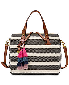 Fossil Stripe Rachel Small Satchel