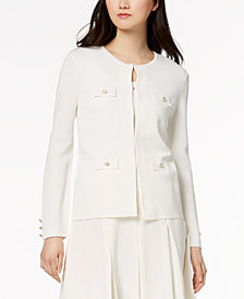 Anne Klein Collarless Faux-Pocket Jacket