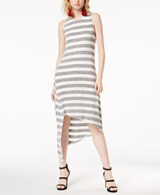 Bar III Asymmetrical-Hem Striped Tank Dress, Created for Macy's
