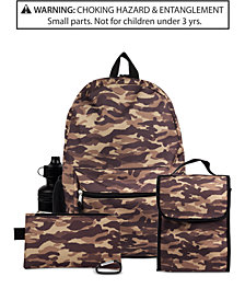 FAB Little & Big Boys 5-Pc. Camo-Print Backpack & Accessories Set
