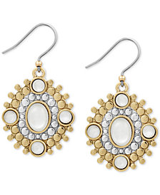 Lucky Brand Two-Tone Stone Drop Earrings