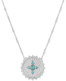 "Lucky Brand Two-Tone Stone Disc Pendant Necklace, 29"" + 2"" extender"