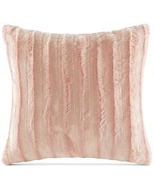"""Duke Ribbed 20"""" Square Faux-Fur Decorative Pillow"""