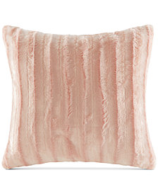 "Madison Park Duke Ribbed 20"" Square Faux-Fur Decorative Pillow"