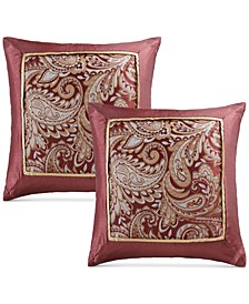 "Aubrey 20"" Square Paisley Jacquard Faux-Silk Pair of Decorative Pillows"