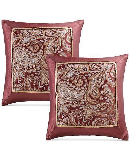 Madison Park Aubrey 40 Square Paisley Jacquard FauxSilk Pair Of Best Faux Silk Decorative Pillows