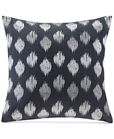 "Nadia 18"" Square Metallic Ikat Dot-Embroidered Decorative Pillow"