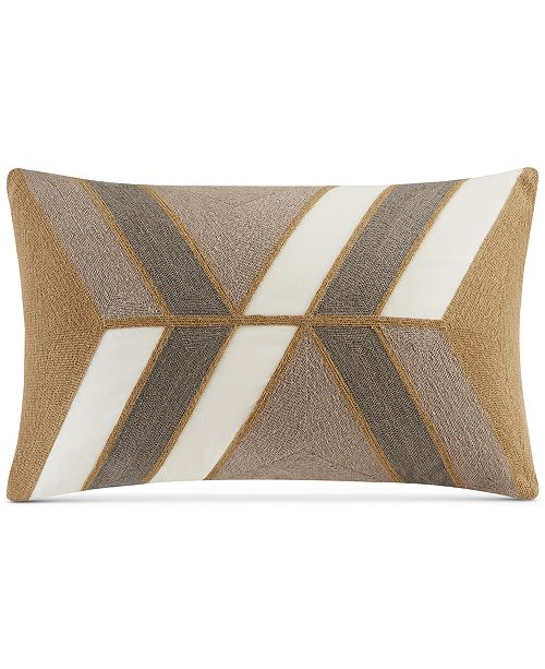 """INK+IVY Aero 12"""" x 20"""" Embroidered Abstract Oblong Decorative Pillow"""
