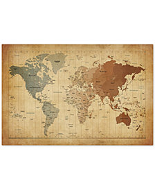 "Michael Tompsett 'Time Zones Map of the World' 35"" x 47"" Canvas Art Print"