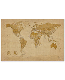 "Michael Tompsett 'Antique World Map' 30"" x 47"" Canvas Art Print"