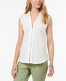 Lucky Brand Button-Down Sleeveless Shirt