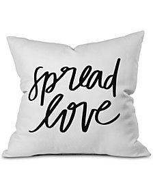 Deny Designs Spread Love BW Outdoor Throw Pillow