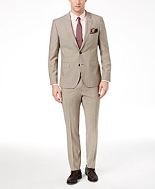 HUGO Men's Modern-Fit Tan Solid Textured Suit