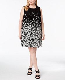 Calvin Klein Plus Size Printed Pleated-Neck Trapeze Dress
