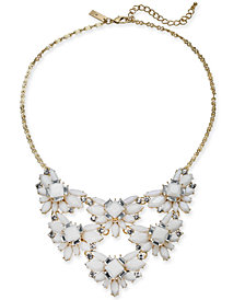 "I.N.C Gold-Tone Stone & Crystal Cluster Statement Necklace, 18"" + 3"" extender, Created for Macy's"