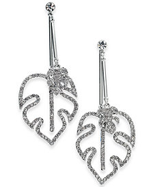 I.N.C. Silver-Tone Crystal & Pavé Palm Leaf Drop Earrings, Created for Macy's