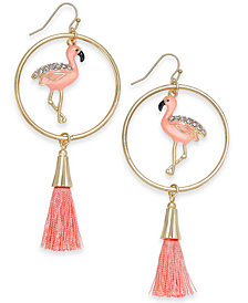 I.N.C. Gold-Tone Pavé Flamingo & Tassel Drop Hoop Earrings, Created for Macy's