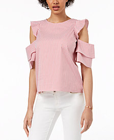 Maison Jules Striped Cold-Shoulder Top, Created for Macy's