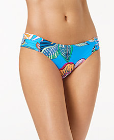 Trina Turk Tahiti Floral-Print Side-Shirred Hipster Bikini Bottoms