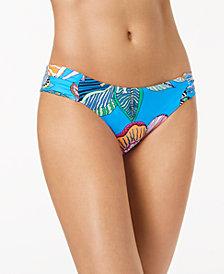 Trina Turk Tahiti Floral-Print Side-Shirred Hipster Bikini Bottoms