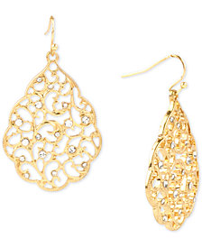 Charter Club Gold-Tone Pavé Open Scroll Drop Earrings, Created for Macy's
