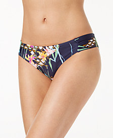 Trina Turk Fiji Floral-Print Side-Shirred Hipster Bikini Bottoms