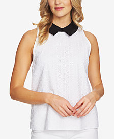 CeCe Cotton Collared Top