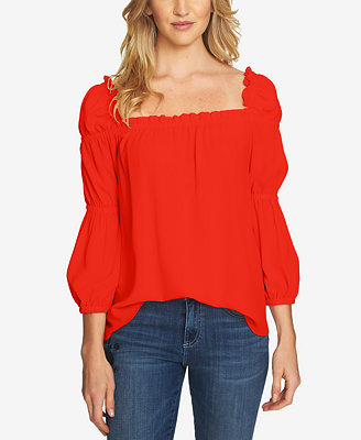 Ruffled Square Neck Top by Ce Ce