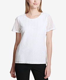 Calvin Klein Short-Sleeve Leaf-Lace Top