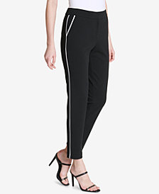 Calvin Klein Mid-Rise Colorblocked-Trim Pants