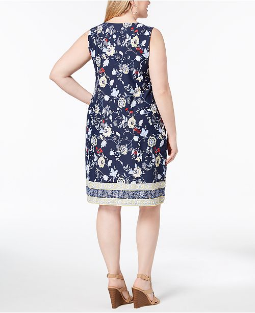 Dress Club Intrepid Blue for Print Size Macy's Charter Combo Sheath Plus Floral Created andfTnxUYq
