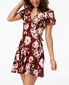 BCX Juniors' Printed Faux-Wrap Fit & Flare Dress