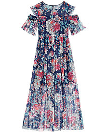 Bonnie Jean Big Girls Floral-Print Cold Shoulder Maxi Dress