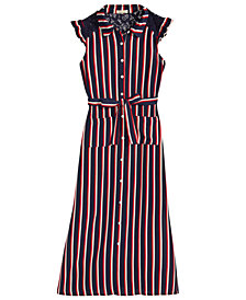 Monteau Big Girls Striped Maxi Shirtdress